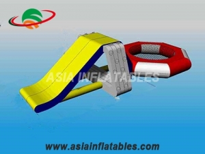 Inflatable Air Tight Water Floating Slide With Trampoline